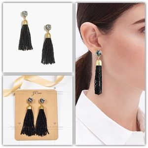 J.CREW Crystal Beaded Tassel Earrings Black